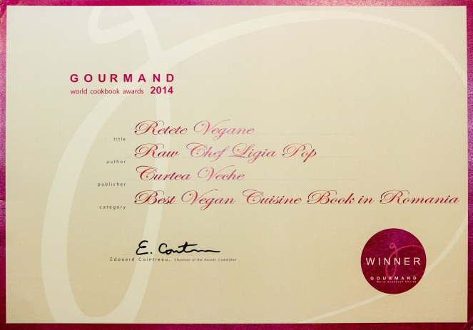 Certificat Gourmand World Cookbook Awards pe Romania