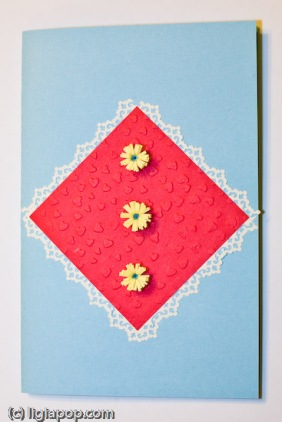 Card 24: Red square, yellow flowers on blue