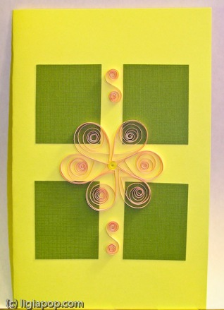 Card 3: Pink flower on green squares