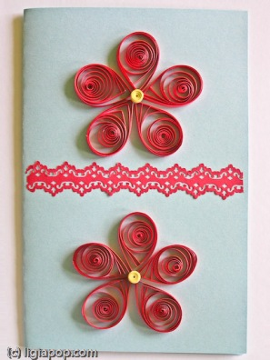Card 31: Red flowers on blue