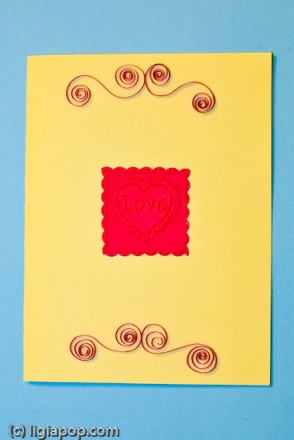 Card 34: Love stamp on yellow