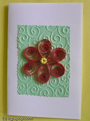 Card 40: Red flower on green square