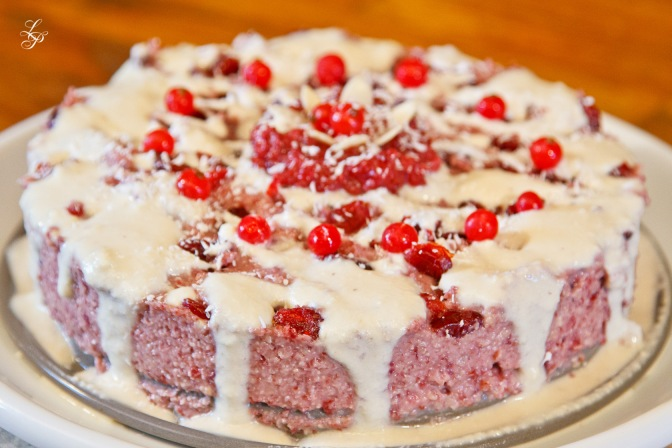 Glazed cranberry cake