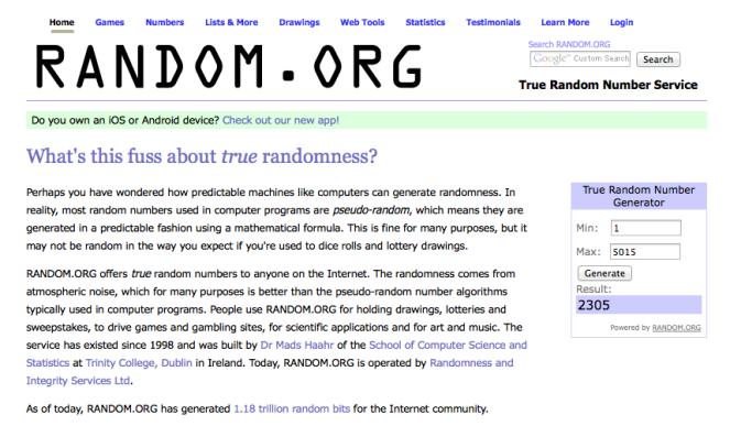 Screen Shot from Random.org